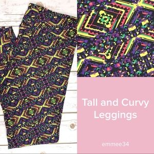 NWOT TC Lularoe Leggings black, yellow, purple
